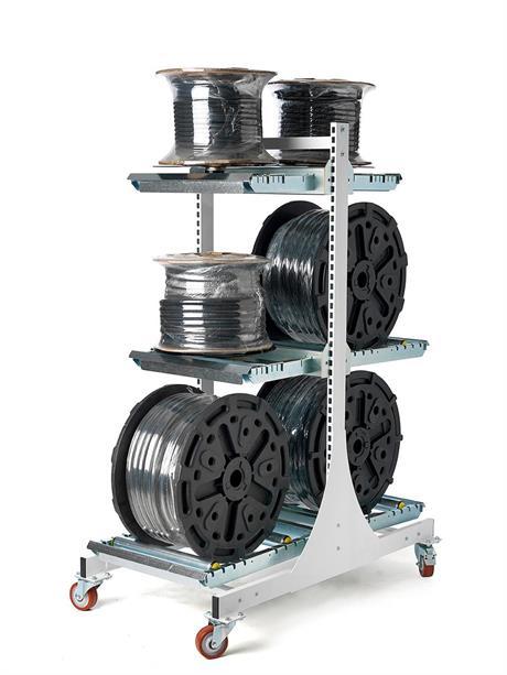 Bobinställ för både liggande och stående bobiner