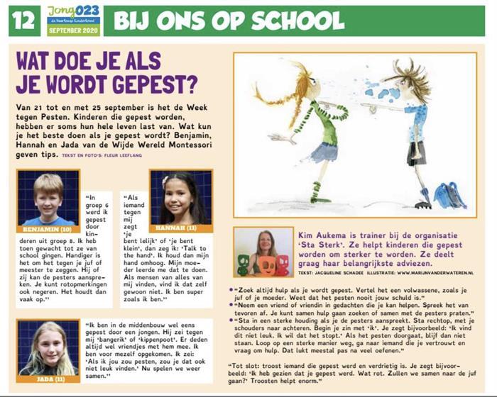 Nu in de Haarlemse kinderkrant, tips van mij tegen pesten 💪🏻