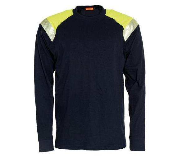 Tranemo Långärmad T-shirt Flamskydd, Marin/Gul Stl XS