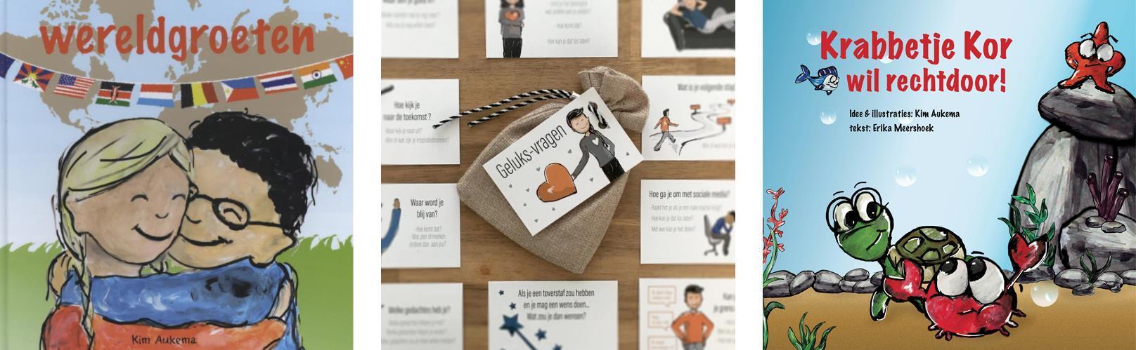 Mijn zelfgemaakte en uitgeven educatieve prentenboeken -over anders zijn- en geluksvragen