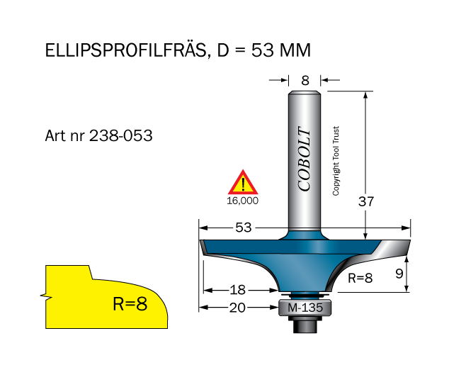 Ellipsprofilfräs D=53, L1=9