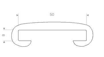 Håndløperprofil 50x8 mm Hvit - Løpemeter
