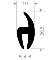 H-profil 10X20,5 mm sort EPDM - Løpemeter