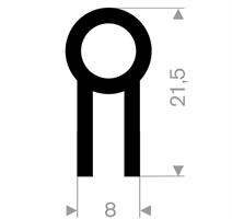 U-profil 4/8x21,5 mm sort CR - Løpemeter