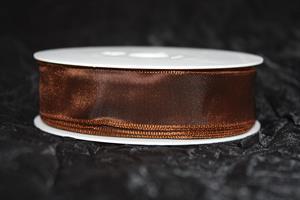 Band 25 mm 25 m/r taft brun med tråd
