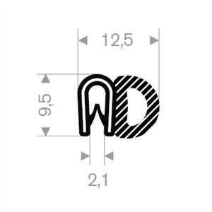 Kantprofil ST 36.135 sort (1-2 mm) - Løpemeter