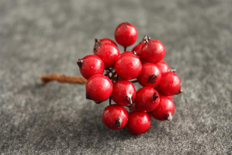 Bär röda D1cm med tråd 12x18st/fp
