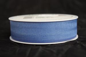 Band 25 mm 50 m/r organza blå