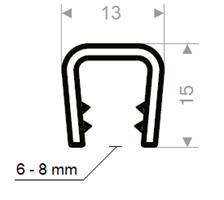 Kantprofil 13x15 mm sort (6-8 mm) - Løpemeter