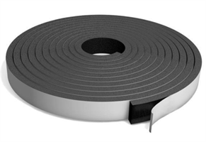 Cellegummi strips 10x10 mm Sort m/lim - 20 meter
