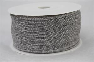 Band 50 mm 8 m/r light grey linne med tråd