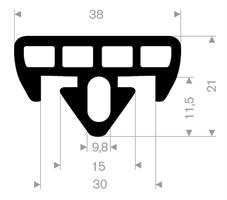 Beskyttelsesprofil T050 EPDM sort - Løpemeter