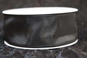 Band 40 mm 25 m/r svart taft med tråd