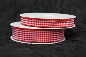 Band röd/vit rutigt 25 m/r tråd olika bredder
