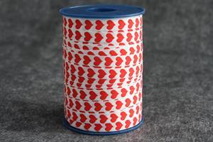 Presentsnöre poly 10mm 250 m/r hjärtan