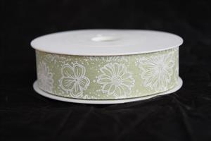 Band 25 mm 18 m/r flowers grön/vit ej tråd