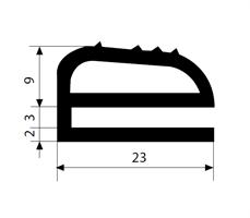 e-profil 3/23X14 mm sort EPDM - Løpemeter