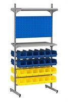 Backställ komplett 48 st lagerbackar, panel,hyllplan