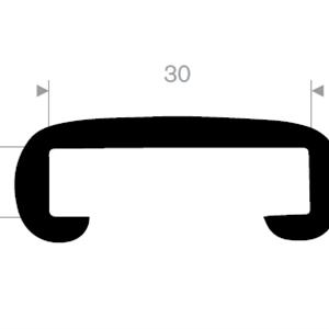 Håndløperprofil 30x8 mm Sort - 25 meter