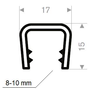 Kantprofil 17x15 mm sort (8-10 mm) - Løpemeter