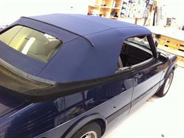 Sufflett SAAB 900 87-93 tyg blå glas combo