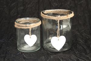 Glaskruka hjärta  m juteband olika storlekar