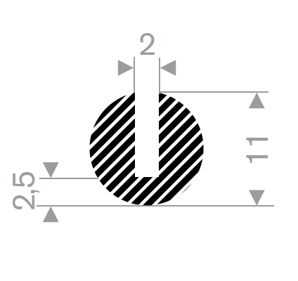 U-profil 2/11x11 mm sort EPDM svamp - Løpemeter