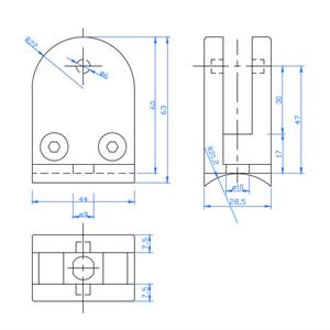 Glassholder/Glassklemme 43x59 mm børstet
