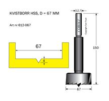 Kvistborr HSS D=66.6 TL=158 S=12.7