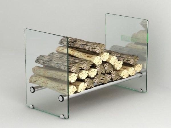 Vedkurv / vedstabler glass 40x60x30 cm