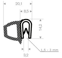 Kantprofil ST 36.155 sort (1,5-3 mm) - Løpemeter