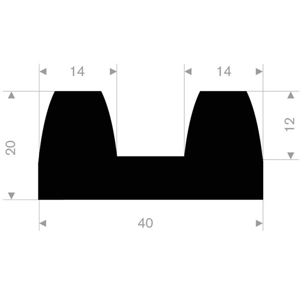 B-fender 40x20 mm sort TPE - Løpemeter
