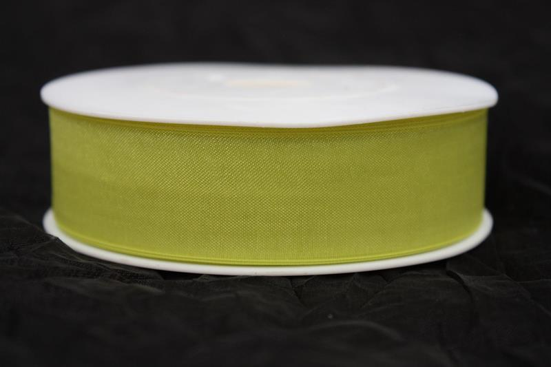Band 25 mm 50 m/r organza limegrön