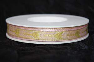 Band 15 mm 25 m/r rosa/grön tulpan tråd