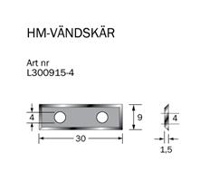 HM-vändskär 30 x 9 x1,5 (4 sidor)