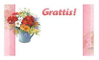 Kort Kanna med blommor Grattis 100/fp