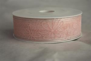 Band 25 mm 20 m/r transp. rosa bl. med tråd