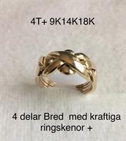 PUZZELRING 4 DELAR BRED+ Kraftigare ringskenor 8gr 9K GULD