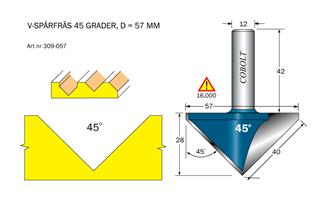 V-spårfräs 45° L=27 F=40 D=57 S=12