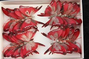 Fjäril vinröd 7,5cm 24/fp