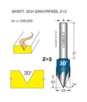 Skriftfräs 30° Z=3 L=12 D=15 S=8