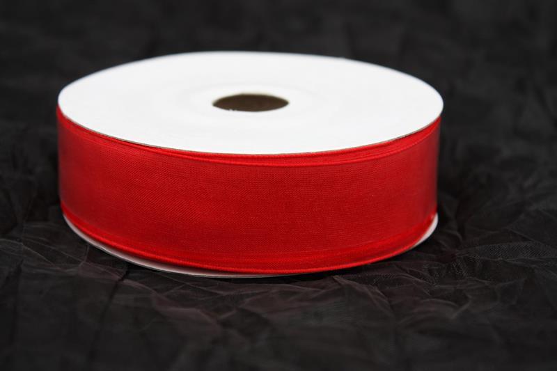 Band 25 mm organza röd utan tråd