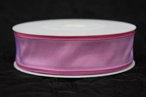 Band 25 mm 25 m/r rosa taft med tråd