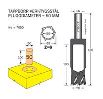 Tappborr D=50 TL=160 S=16