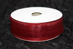 Band 25 mm organza vinröd utan tråd