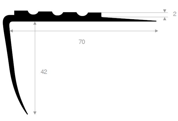 Trappenese 70x42 mm sort PVC - 150 cm