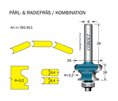 Pärl- & Radiefräs R=3.2 L=16 S=8