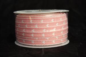 Band 12 mm 25 m/r rosa/vit hjärta