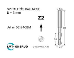 Spiralfräs Ballnose D=3 L=12 TL=50 S=6