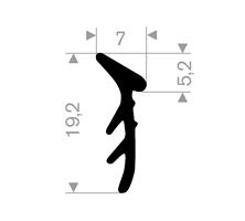 Glasspakning 7x19,2 mm sort EPDM - Løpemeter